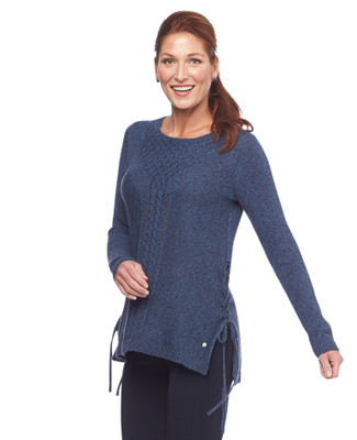 NEW - Point Zero Side Lace Up Cable Knit Sweater