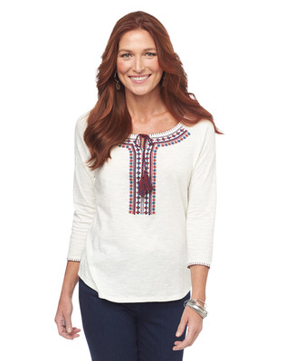 Quarter Sleeve Embroidered Peasant Top