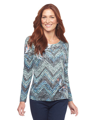 Point Zero Long Sleeve All Over Burnout Knit Top