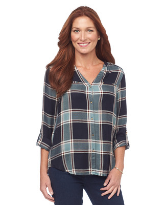 NEW - Point Zero V Neck Check Blouse
