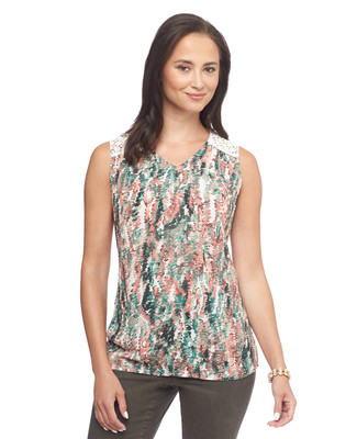Fern Texture Lace Yoke Sleeveless Top