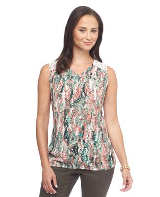 NEW - Fern Texture Lace Yoke Sleeveless Top
