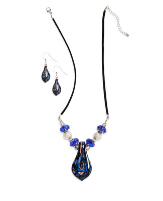 Murano Teardrop Necklace Set