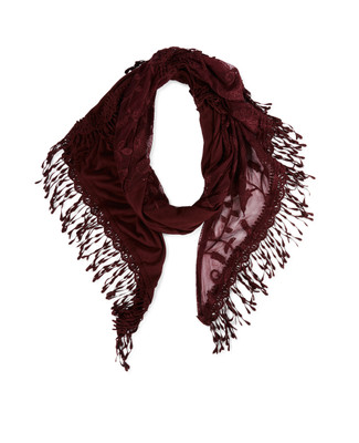 Woman's claret fringed scarf