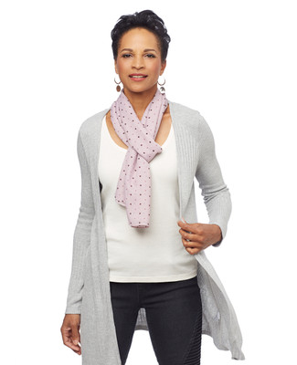 Woman in pink polka dot scarf