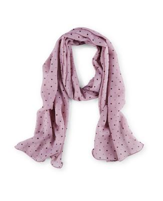Woman's pink polka dot scarf