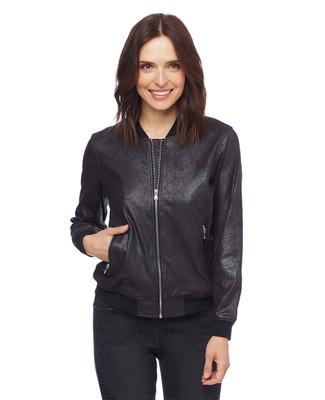 Woman in black lightweight bomber jacket