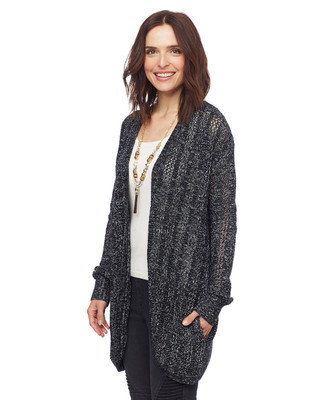 Woman in black open front cocoon cardigan