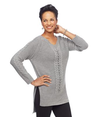 Woman in grey raglan V neck sweater