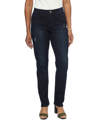 Women in dark wash patchwork jeans