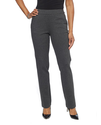 Woman in black pull on ponte pants
