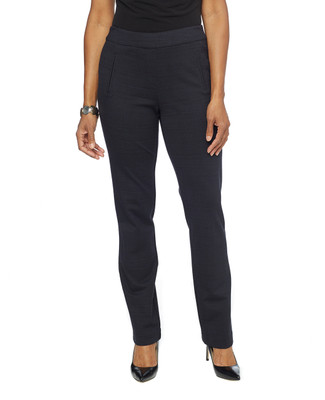 Woman in navy slim ponte pants