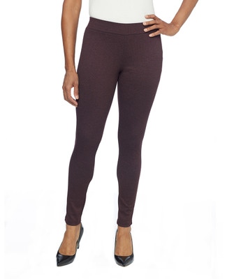 Woman in wine double knit pull-on leggings
