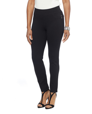 Woman in black ponte stretch leggings