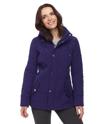 Woman in purple quilted hooded outerwear jacket