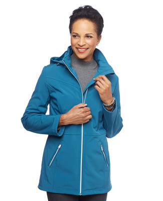 Woman in hooded blue active jacket