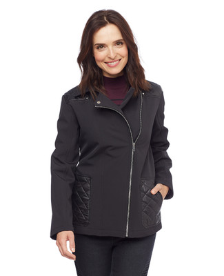 Woman in black quilted asymmetrical jacket