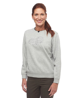 NEW - Grey Patch Leaf Notch Sweatshirt