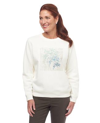White Patch Leaf Notch Sweatshirt