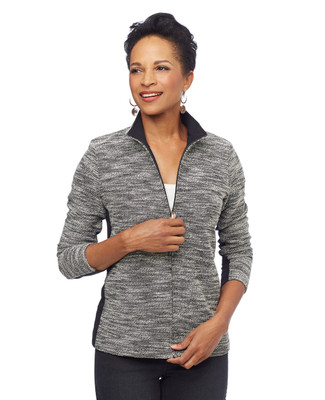 Woman in boucle zip front jacket