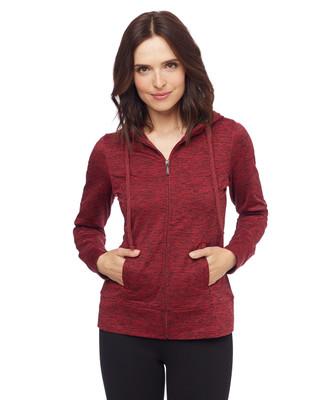 Woman in red hoodie jacket