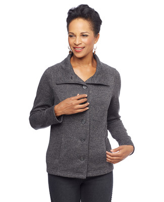 Woman in stand collar button front jacket