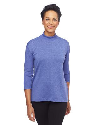 Woman in quarter sleeve mock neck top