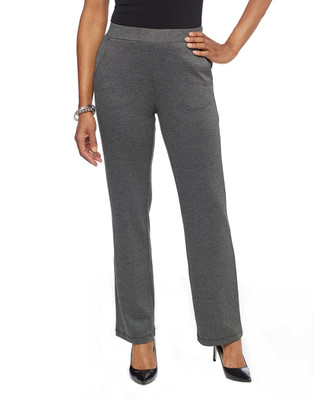 Woman in grey herringbone wide leg pull on pants