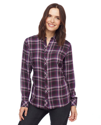 Woman in purple plaid button front shirt