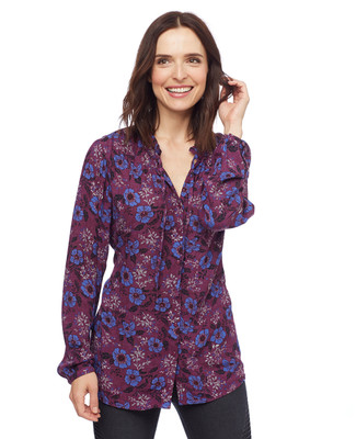 Woman in purple floral button front top