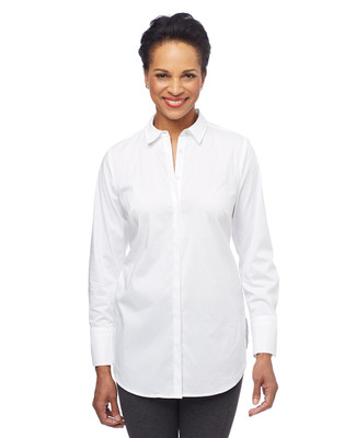 Woman in white cuffed long sleeve tunic shirt