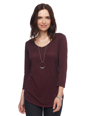 Woman in wine quarter sleeve burnout jersey tunic