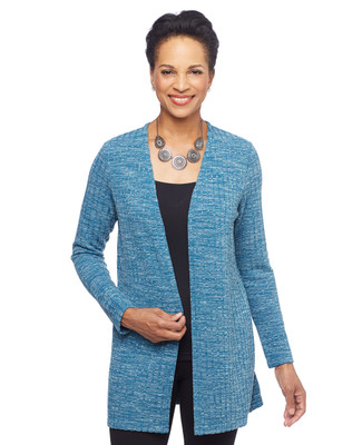 Woman in teal blye ribbed long open front cardigan