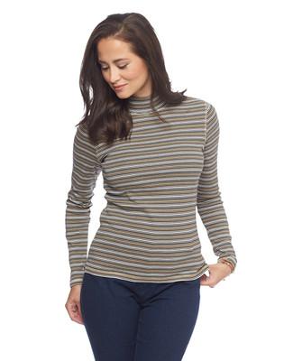 Women's stripe mock neck tee