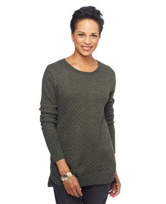 Woman in wine side slit textured tunic sweater