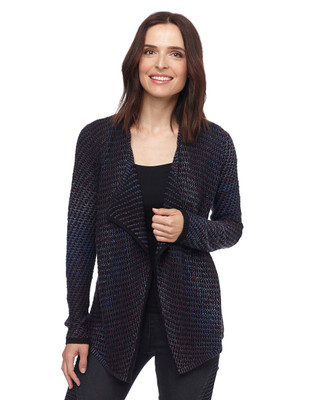 Woman in black waterfall open front cardigan