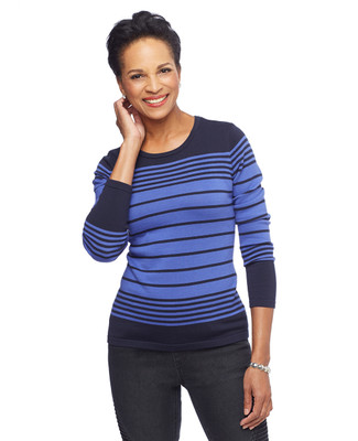 NEW - Long Sleeve Striped Crewneck Sweater