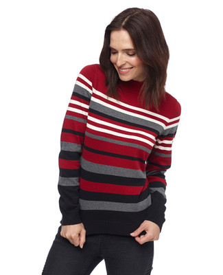 Woman in long sleeve red cotton mock neck sweater