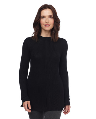 Woman in black side slit pullover sweater