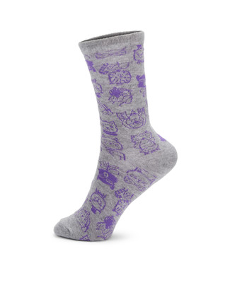 Grey socks with purple cat and dog