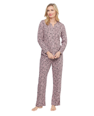 pink two piece long sleeve, button up pyjama set with printed woodland creatures