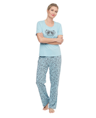 Aqua short sleeve pyjama set with printed bunnies and other woodland creatures