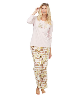 Baked Goods pattern two-piece cotton pyjama set