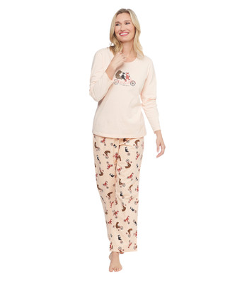 Two piece cotton pyjama sleepwear set featuring cute woodland creatures riding a bicycle