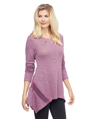 Woman's purple lace insert sharkbite hem tunic