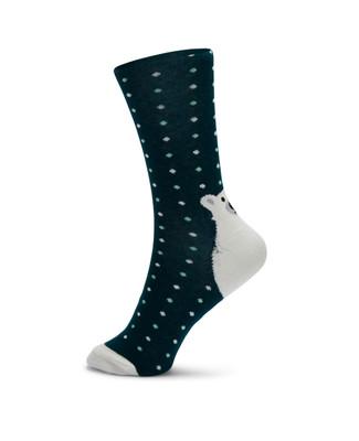 Teal polka dot socks with white polar bear on the heel