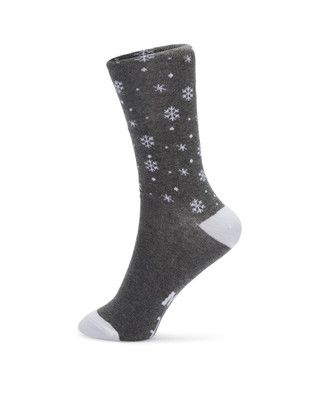"""Snowflake printed socks with message on bottom of foot reading """"let it snow"""""""