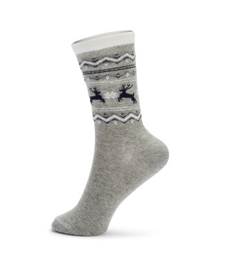 Woman's printed jacquard and deer socks