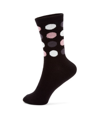 Various shades of purple and white polka dot cotton socks on a black ground.