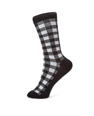 Black and white plaid cotton socks.